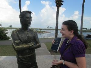 Amanda teaching a statue